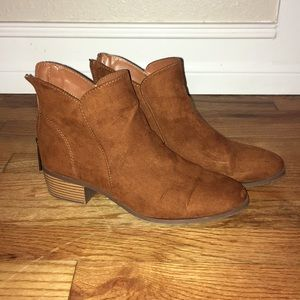Faux suede brown booties Size 7